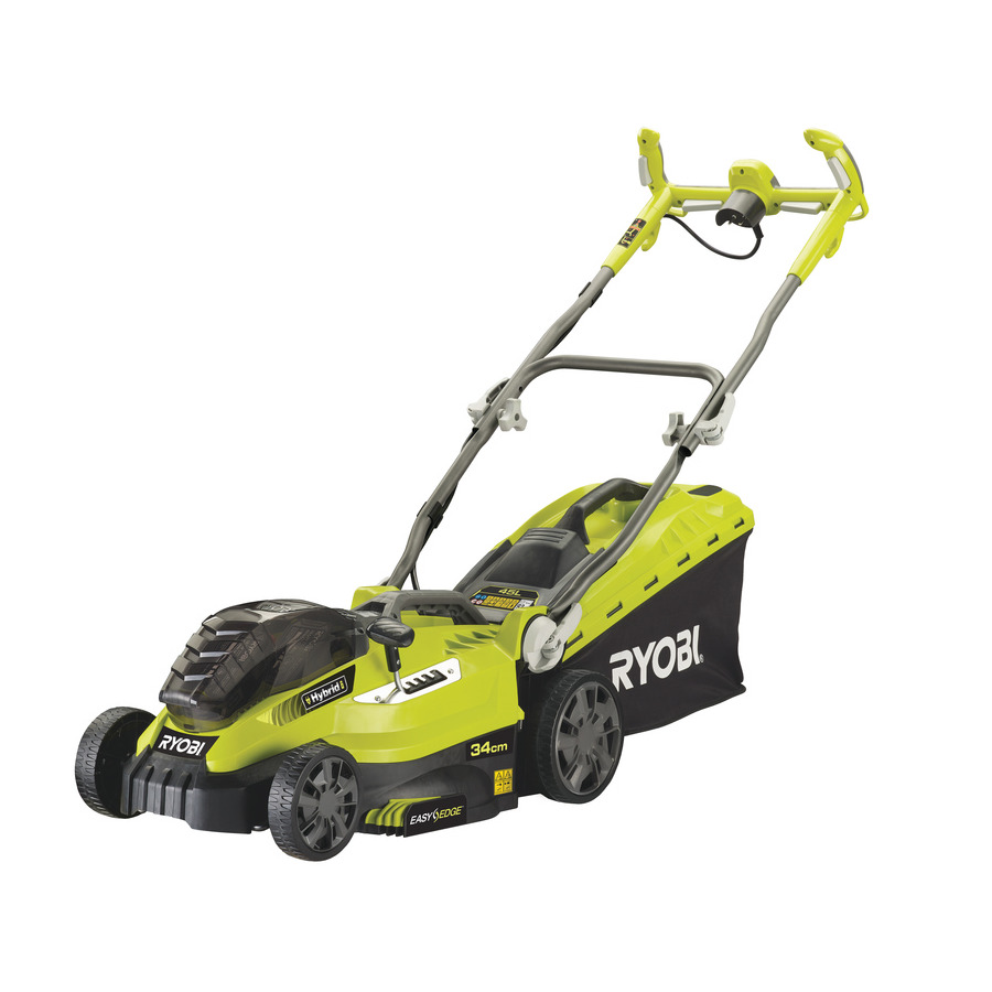 battery powered lawn mowers ryobi lawn mower 36v fusion hybrid cordless 34cm one rlm18c34h25. Black Bedroom Furniture Sets. Home Design Ideas