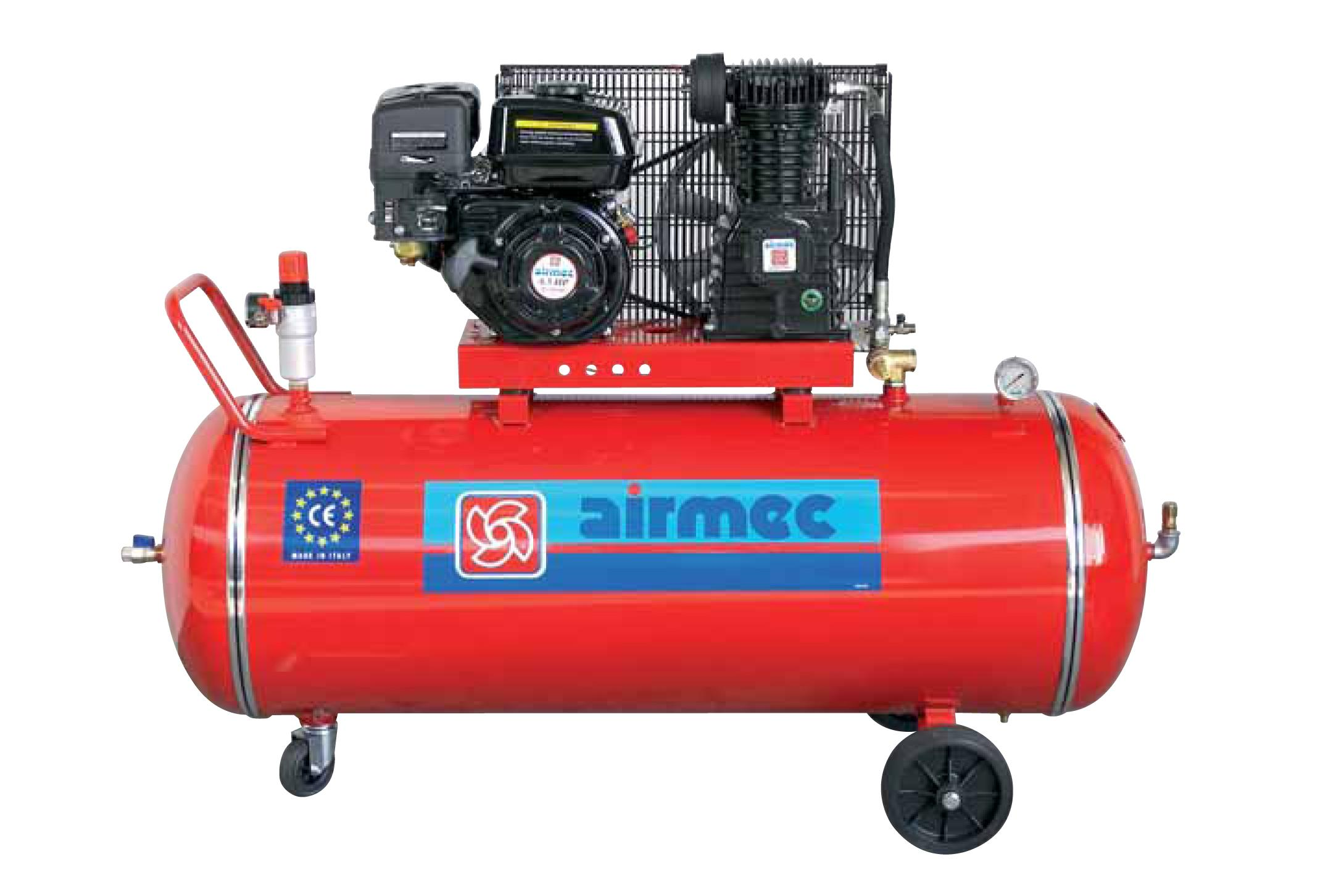 Air compressor machines airmec petrol engine air for Air compressor motor starter