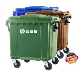 GENERAL ESE LARGE GARBAGE BIN 1100L WITH FLAT LID